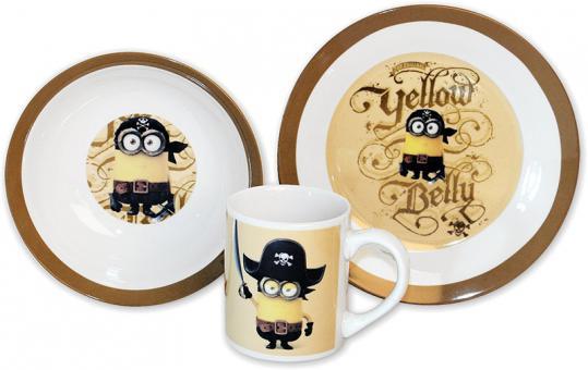 "MINIONS Keramik-Frühstücksset ""YELLOW BELLY"" beige | 3tlg."