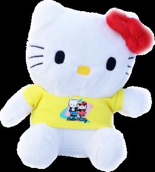 HELLO KITTY Stofftier Plüsch Figur - Katze mit Shirt in gelb
