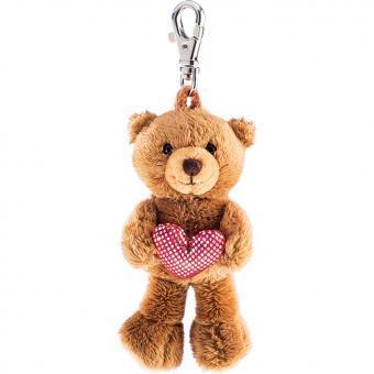 Schaffer Plüsch Schlüsselanhänger TEDDY mit Glitzerherz braun