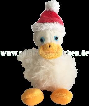 Schaffer Plüschtier Mini Gans WAG WAG mit Weihnachtsmütze | 10 cm