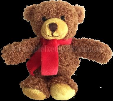 Schaffer Plüschtier Mini Teddybär TOM mit rotem Schal | 9 cm
