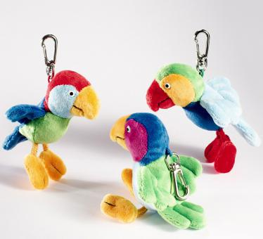 Schaffer Plüsch Schlüsselanhänger Papagei CALYPSO bunt Flügel grün
